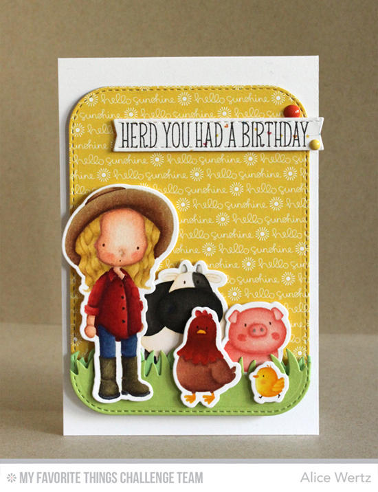 Herd You Had a Birthday Card by Alice Wertz featuring the Birdie Brown The Whole Herd and Green Pastures stamp sets and Die-namics