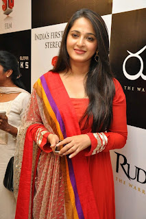 Actress Anushka Shetty Latest Pictures in Red Salwar Kameez at Rudramadevi Trailer Launch  1