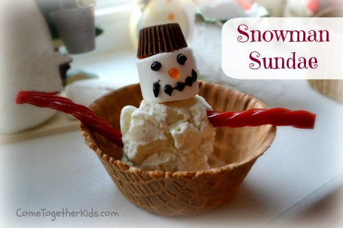Winter party foods, snowman activity, party idea