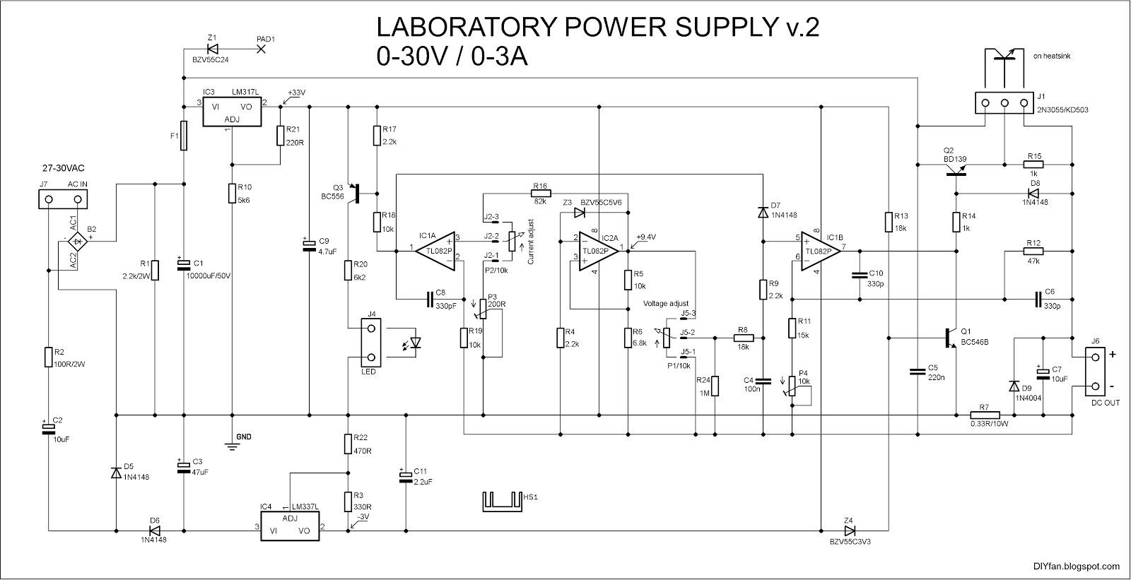 Diyfan Adjustable Lab Power Supply Take Two Diagram Come From Circuit Symmetrical Regulated As You Can See The Schematic Uses Standard Dual Opamps And Not Exotic Hard To Find High Voltage Ones Eager Test It I Made A Pcb Soldered