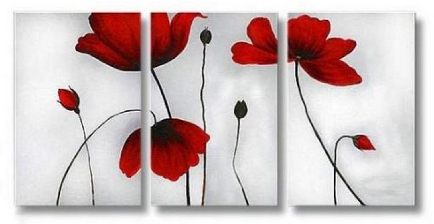pintura de flores al óleo cuadros tripticos modernos de flores