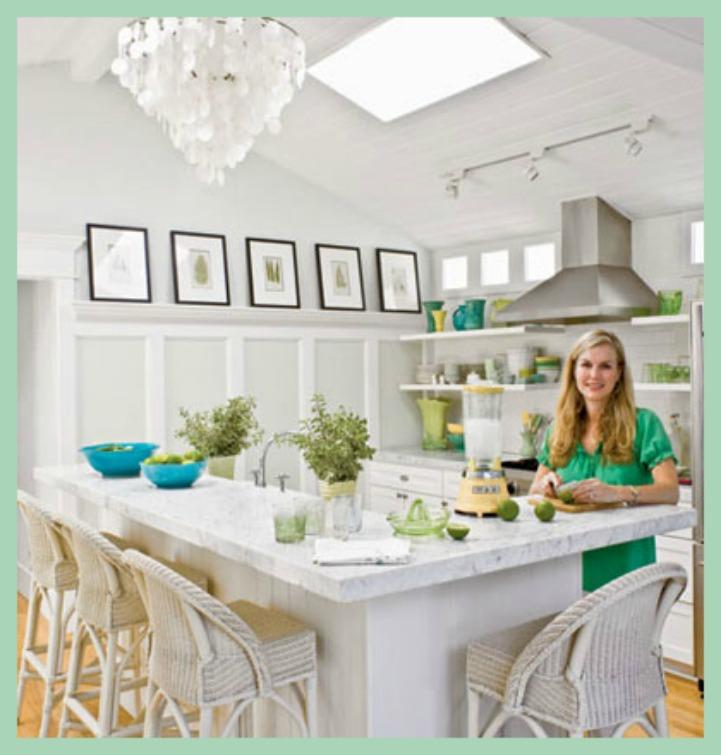 Coastal kitchen with artwork