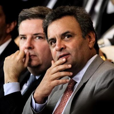 """""""Aécio Neves e Antonio Anastasia, no lançamento do programa ProMunicípio."""""""