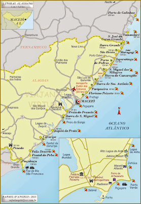 Mapa do litoral Maceio e Alagoas