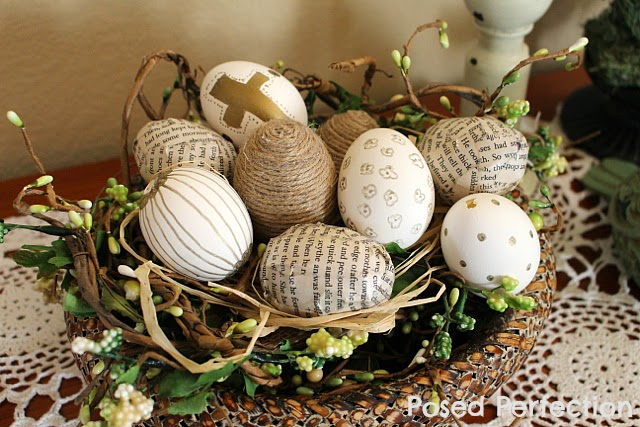 Spring Entryway Vignette DIY Eggs