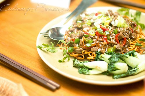 Organic Chili Noodles, Minced Beef, Spicy Garlic-Oyster Sauce