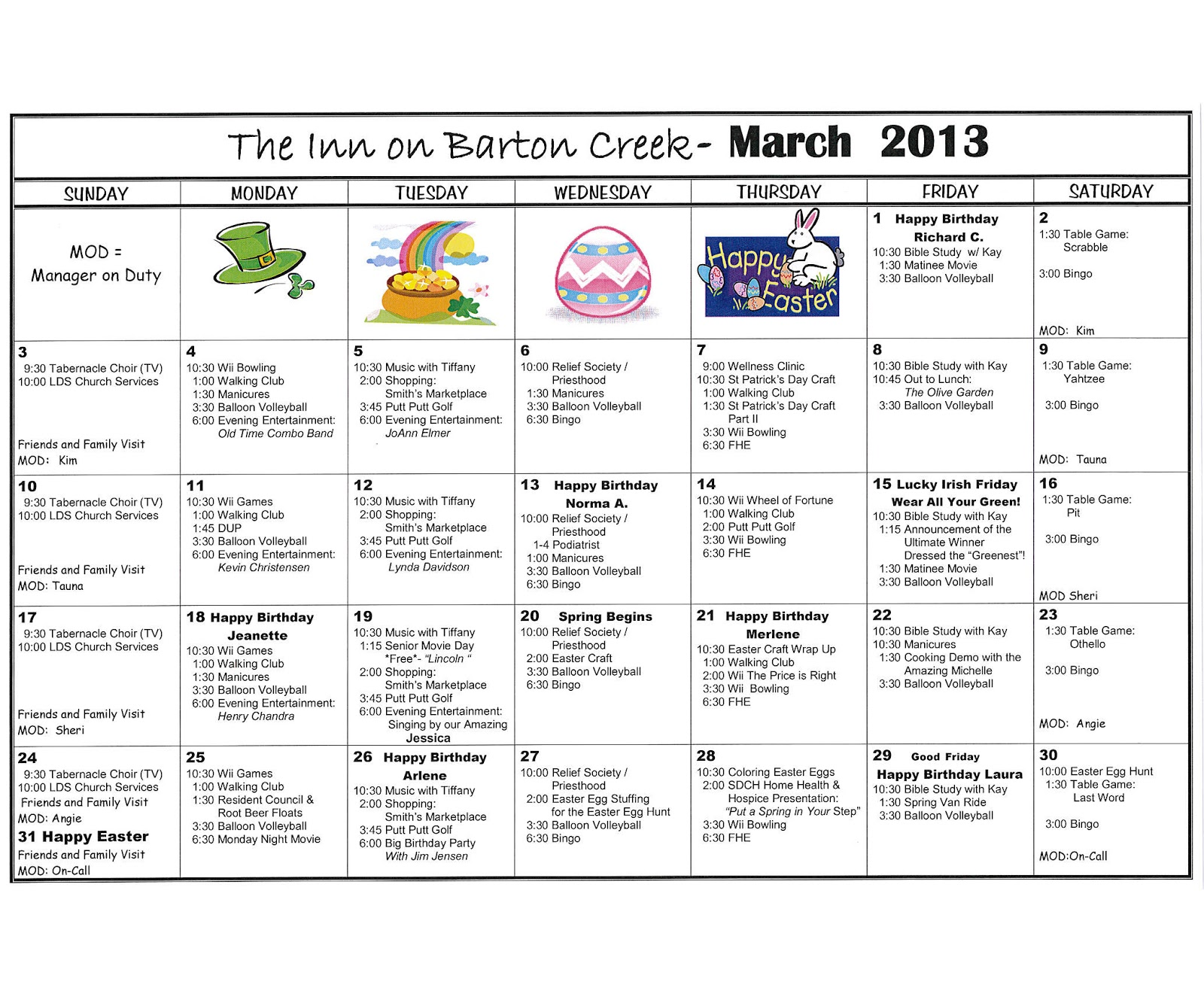 March Calendar Ideas : Barton creek assisted living march activities calendar