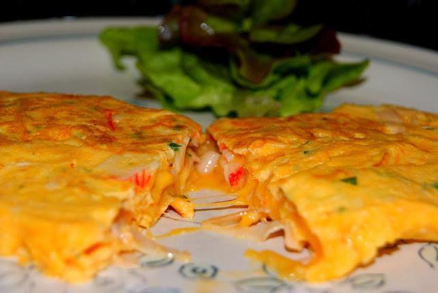 Tortilla francesa de Txaka, Pavo braseado y Queso Cheddar