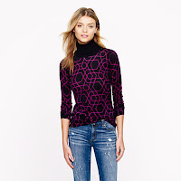 J. Crew Merino Turtleneck Sweater in Abstract Diamond