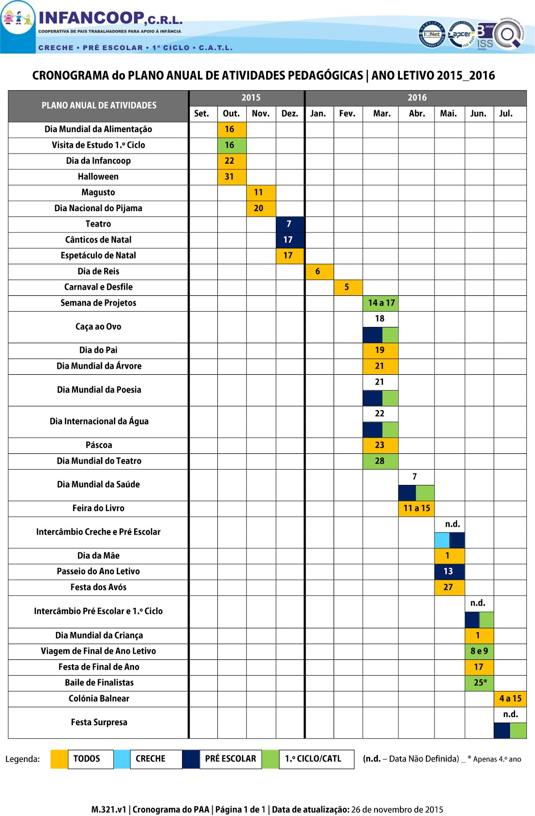 Plano Anual de Atividades 2015 | 2016