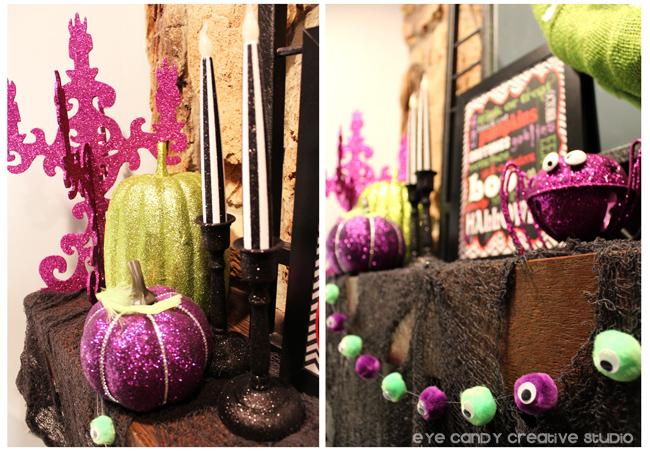black & white candles, purple pumpkin, eyeball garland, spider, mantel