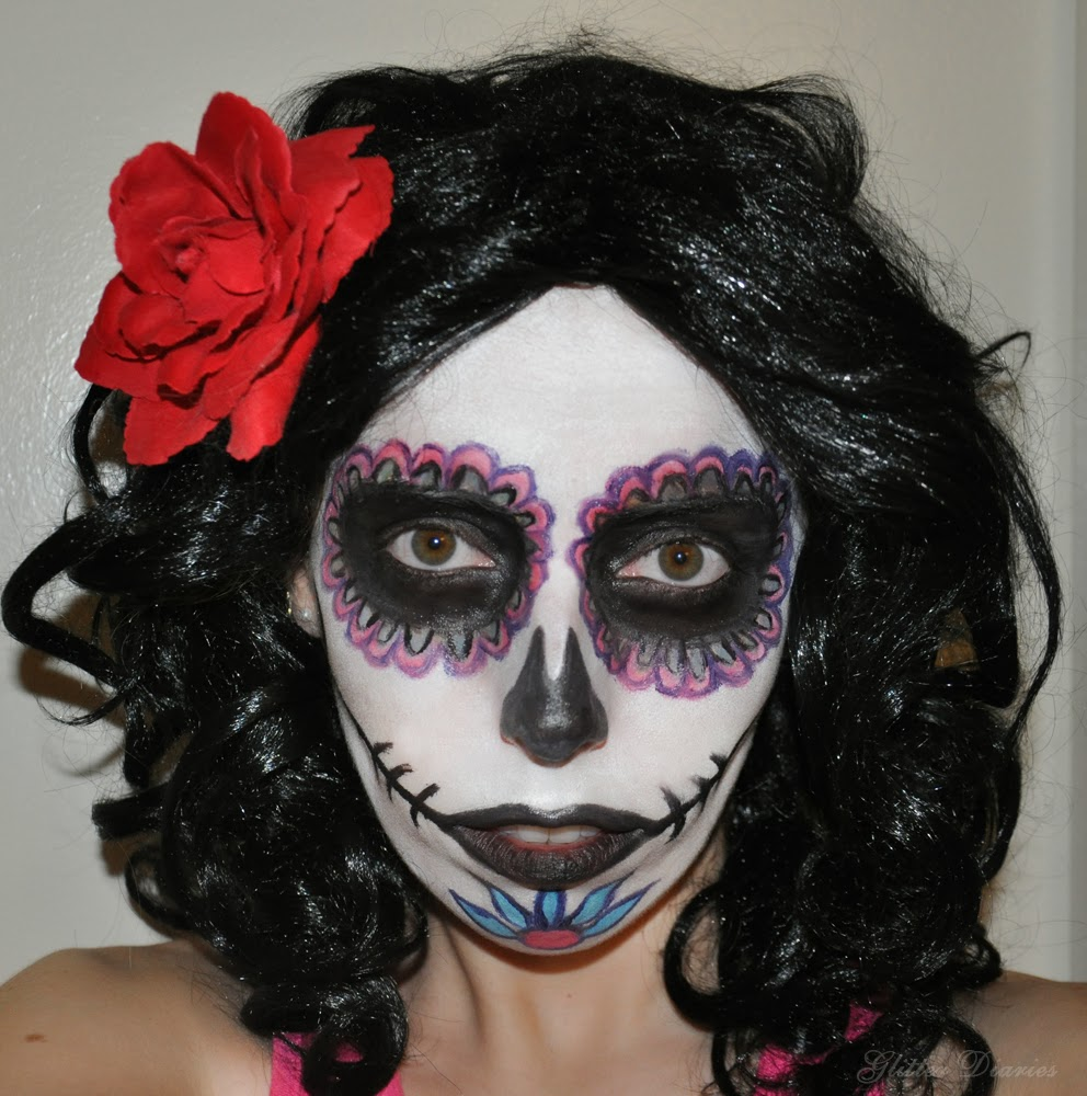 Halloween makeup tutorial day of the dead sugar skull glitter you can go as intricate and detailed as youd like or stick with the overall basic idea for this makeup the more detailed you go the more skill it will baditri Images