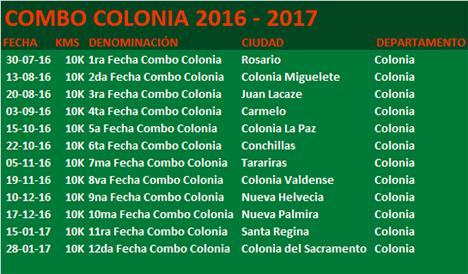 Calendario Combo Colonia 2016/17