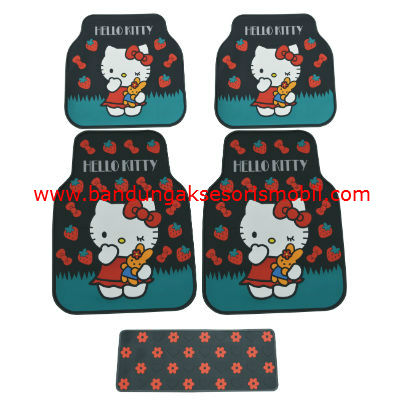 Karpet Kitty+Strawberry Hitam Perancis