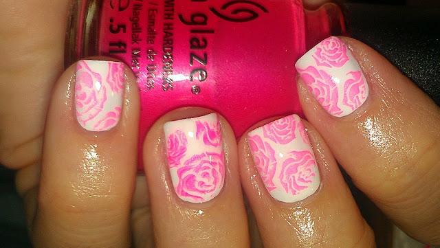 rose stamp pink