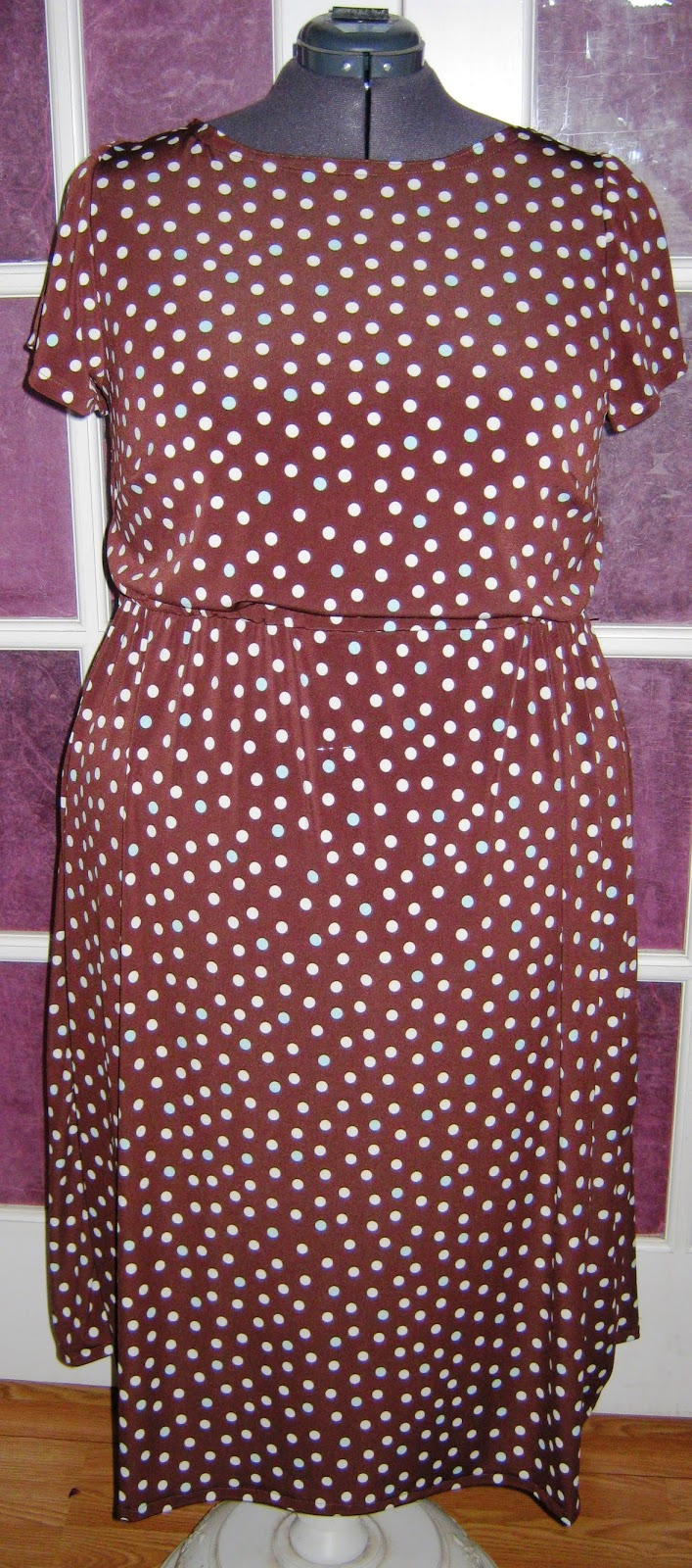 Brown Dot ITY Knit  Elastic Waist Dress www.sew.plus.blogspot.com