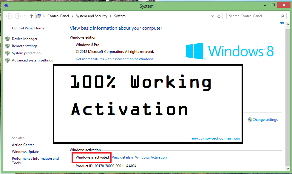 Windows 8 pro product key activate for Windows 07 product key