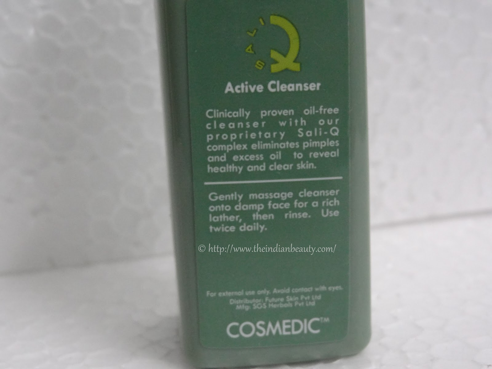 Cosmedic Sali-Q Active Cleanser: Review - The Indian Beauty Blog