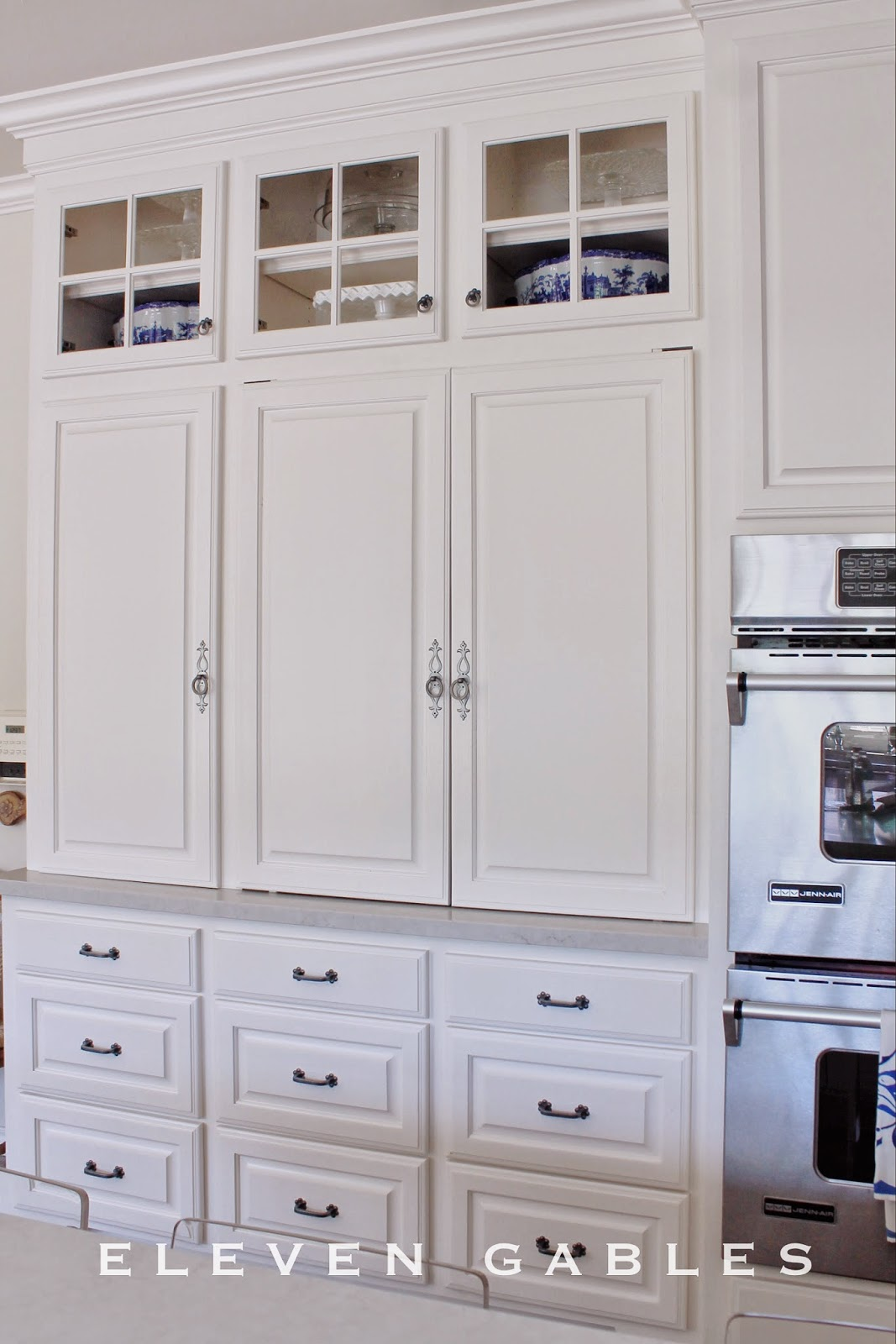 Eleven Gables: Hidden Appliance Cabinet And Desk Command Center In The  Kitchen