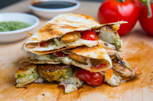 Pesto Grilled Shrimp Caprese Quesadillas