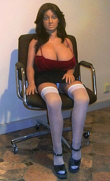 Inflatable sex doll sitting in chair