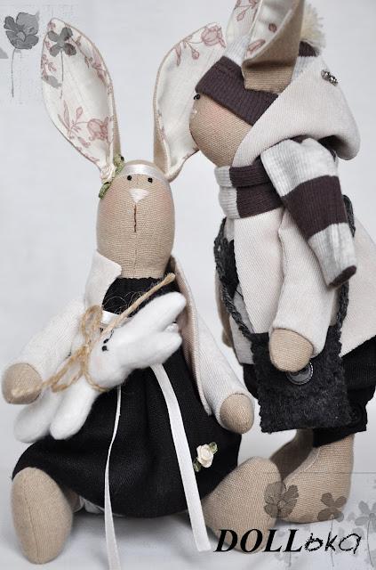 Зайцы по выкройке Т.Конне,игрушки ручной работы