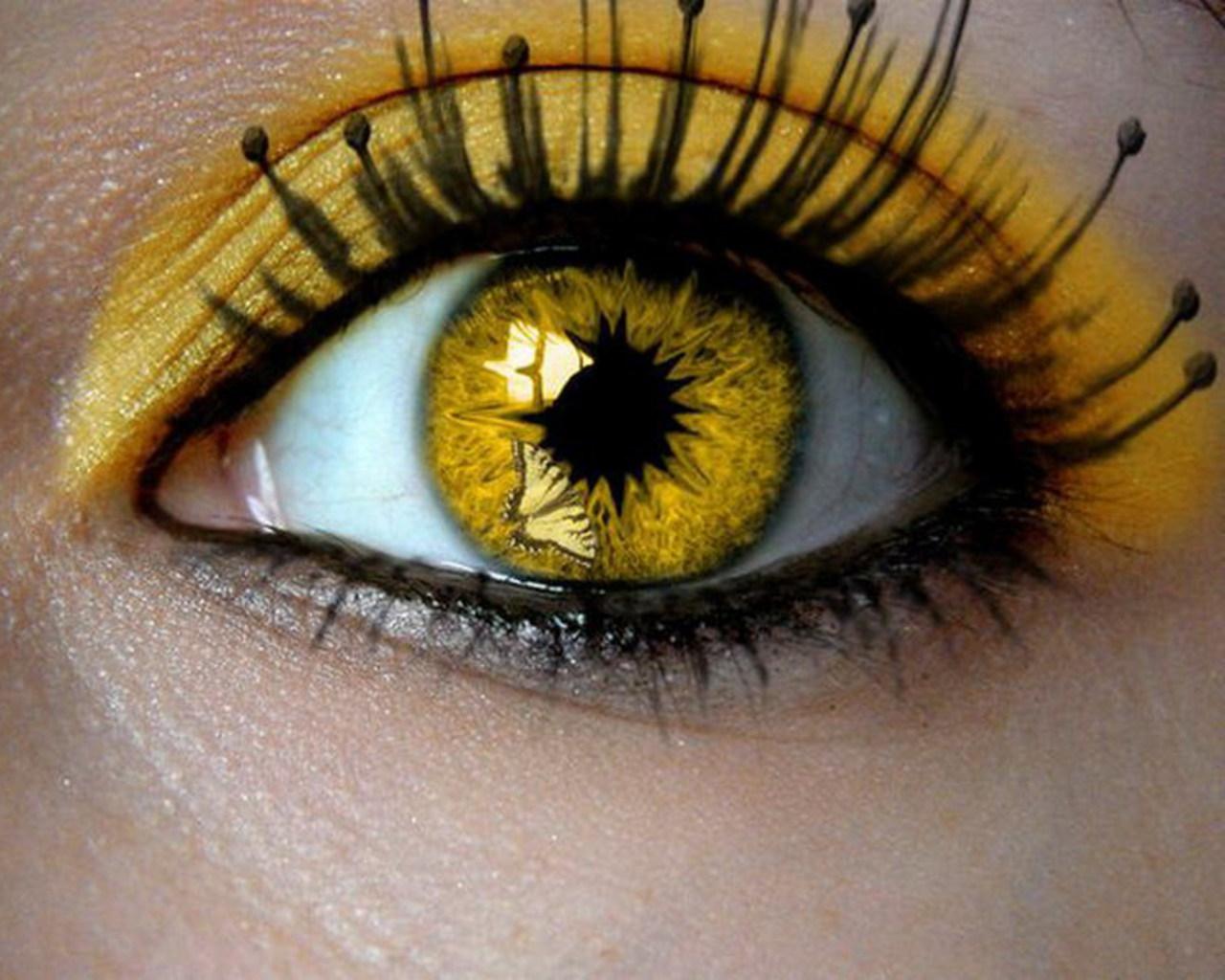 Как сделать желтые глаза