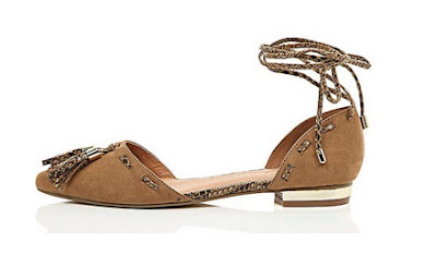 River Island brown tie up tassel flats