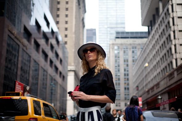 women in hats, black and white, striped pants, blound hair, diesel black gold  new york fashion week spring 2014, new york street style, womens style in new york