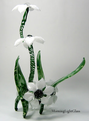Flamework Art Glass Sculpture, White Flower Garden