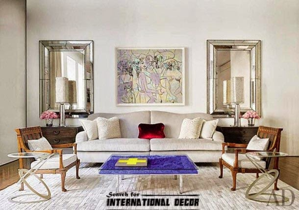 contemporary interior design, contemporary living room,wall mirrors and painting