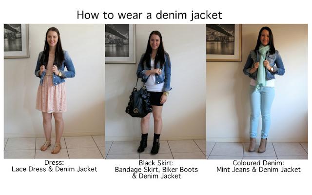 How to wear a denim jacket, ways to wear a denim jacket, denim jacket inspiration, denim jacket outfits, lace dress and denim jacket, denim jacket and bandeau skirt, mint jeans and denim jacket
