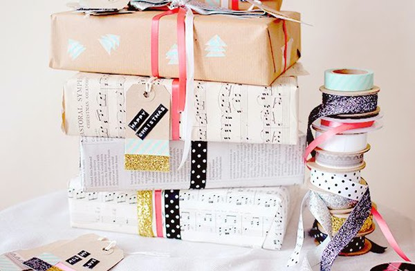 mix of glitter and ribbons for wrapping gifts