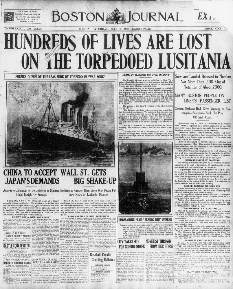 "Outrage Over the Sinking of ""The Lusitania"" Helps Lead the U.S. Into ..."