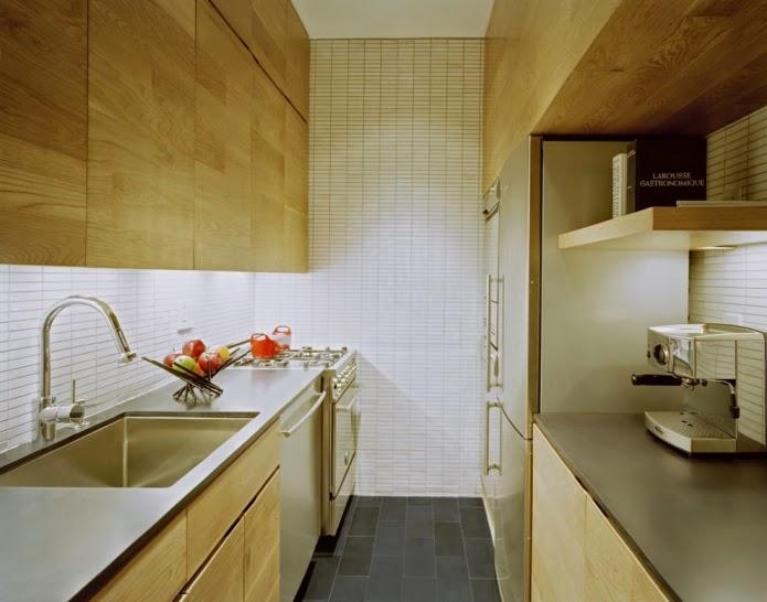 Narrow Kitchen Designs Interior Of Wooden Narrow Kitchen