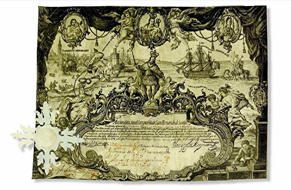 early share certificate from  the Real Compañia de San Fernando de Sevilla