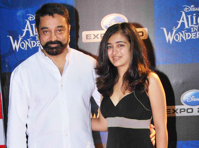 Akshara Hassan with her papa or father Kamal Hassan