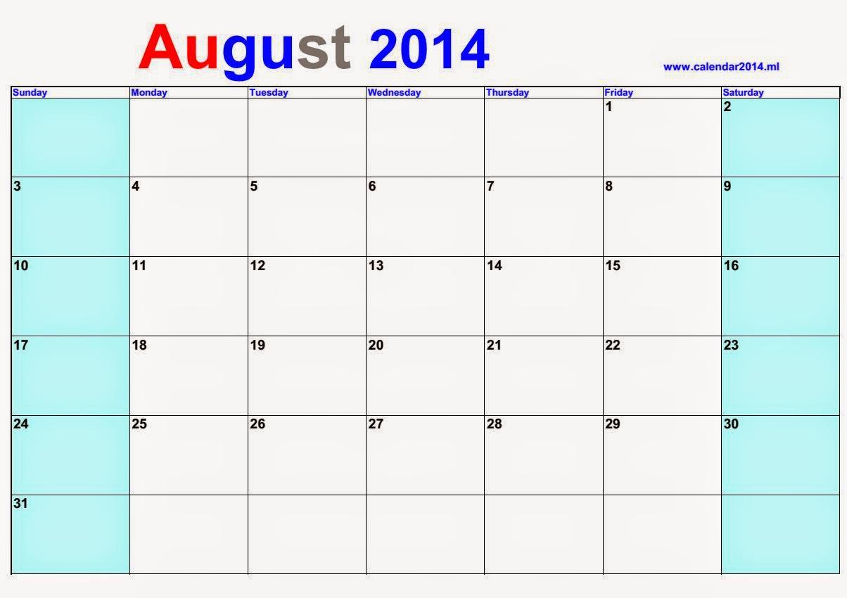 August Calendar 2014 : رزنامة بالعربي شهر غشت blank calendar