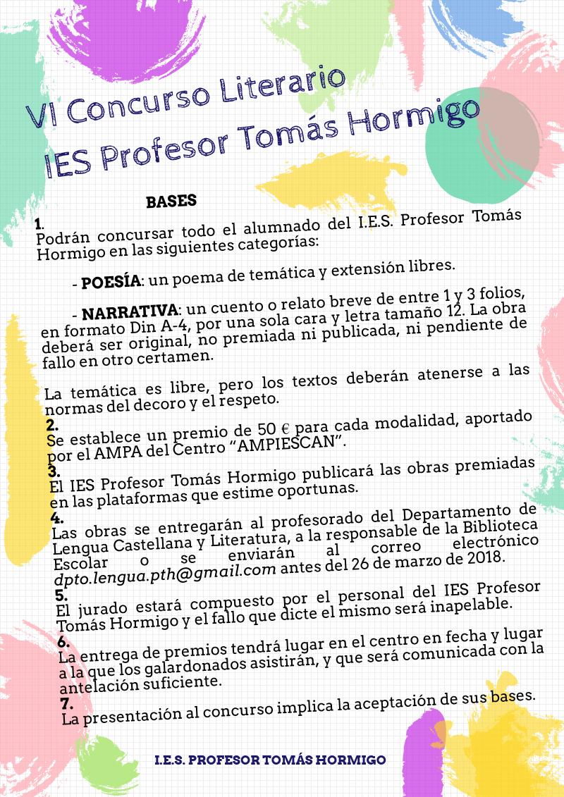 VI Concurso Literario IES Profesor Tomás Hormigo