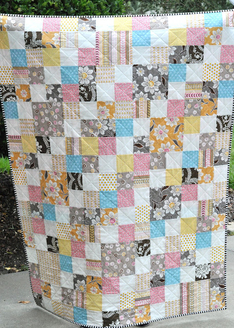 pink and brown and yellow modern patchwork quilt