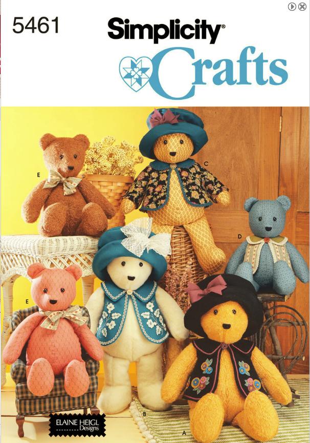 MyCreativeCard.com: More Fabric Teddy Bear - Simplicity 5461 Pattern