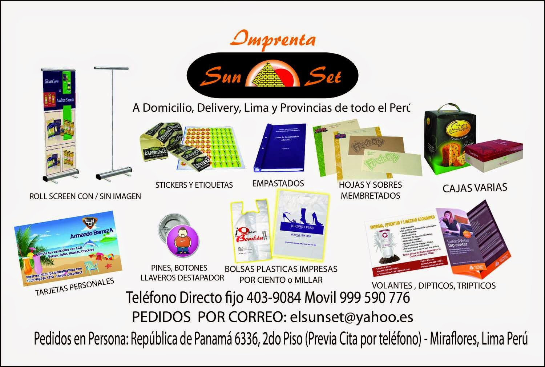 IMPRENTA A DOMICILIO, POR TELEFONO O INTERNET, LIMA - PERU