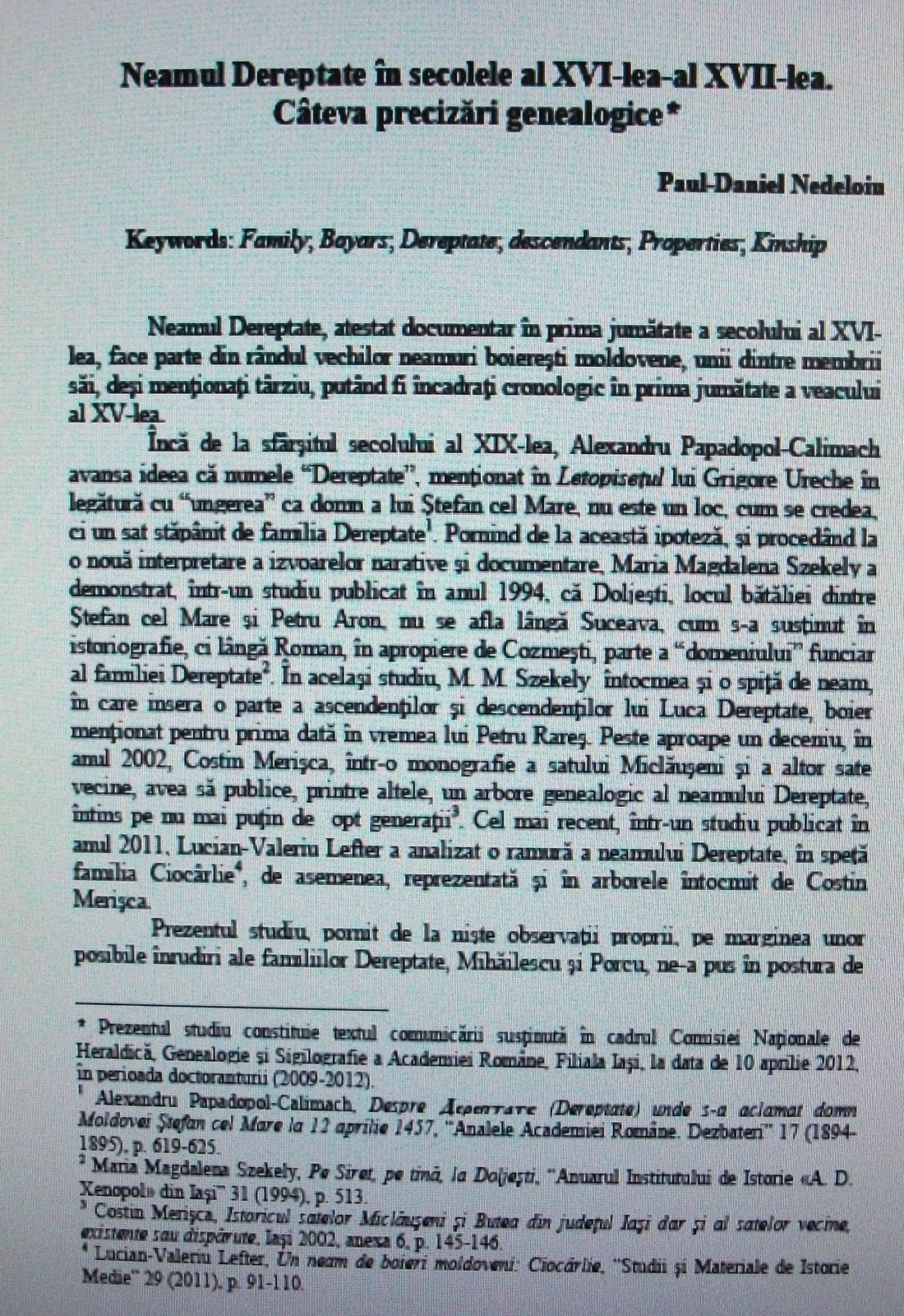 Prima pagină a studiului în Revista Arhivelor...