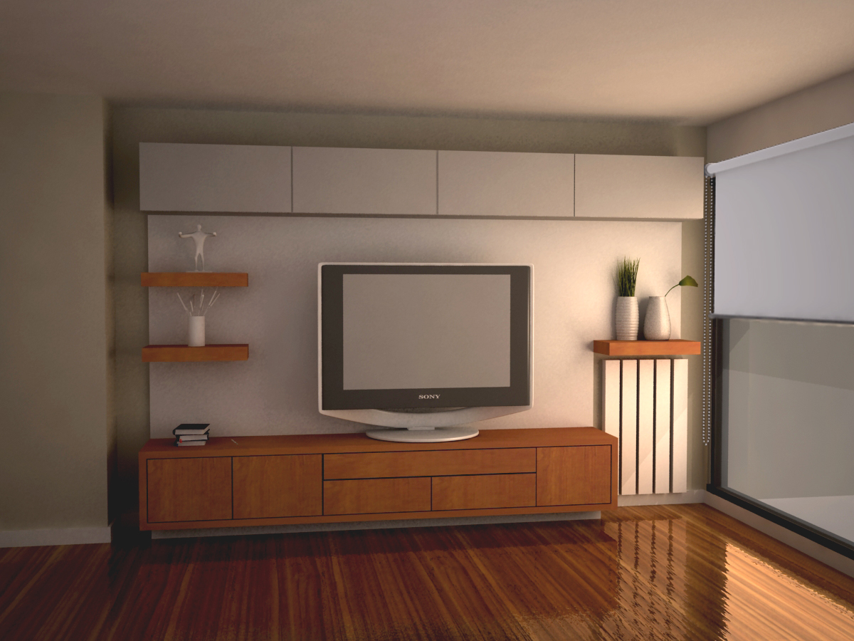Grafica 3d mueble tv for Iluminacion led para muebles