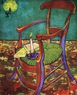 A cadeira de Gauguin em Arles com livros e vela