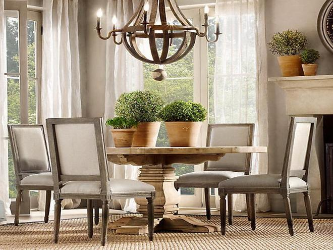 Modern dining room with antique furniture dark elegant for Modern dining room paintings