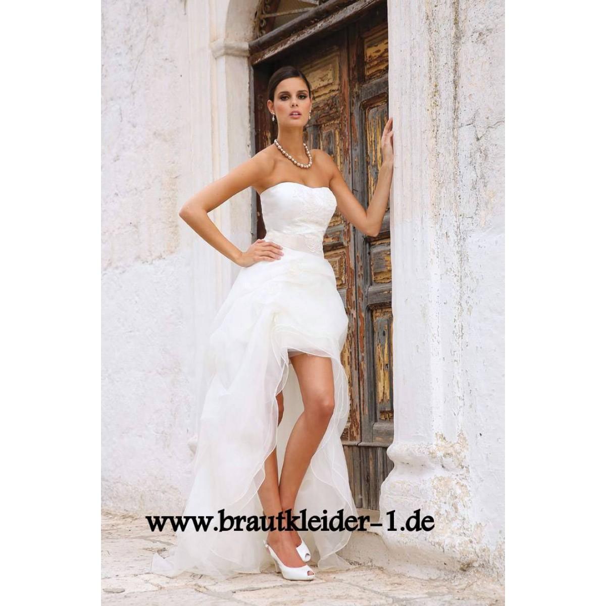 Modernes Vokuhila Brautkleid Vorne Kurz Hinten Lang auf Rechnung