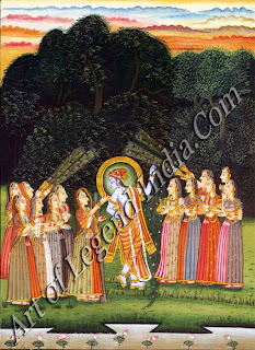 Radha offering betel (pan) to Krishna in a grove