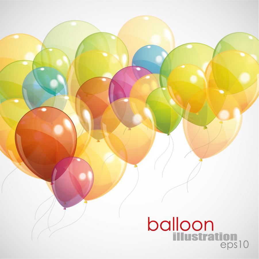 カラフルな色の風船が重なった背景 Balloons Background イラスト素材
