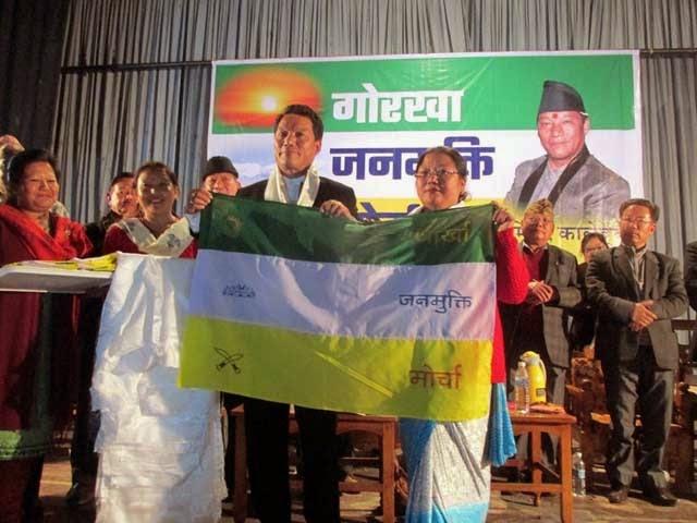 Nanita Gautam rejoins Morcha bimal gurung handover flag